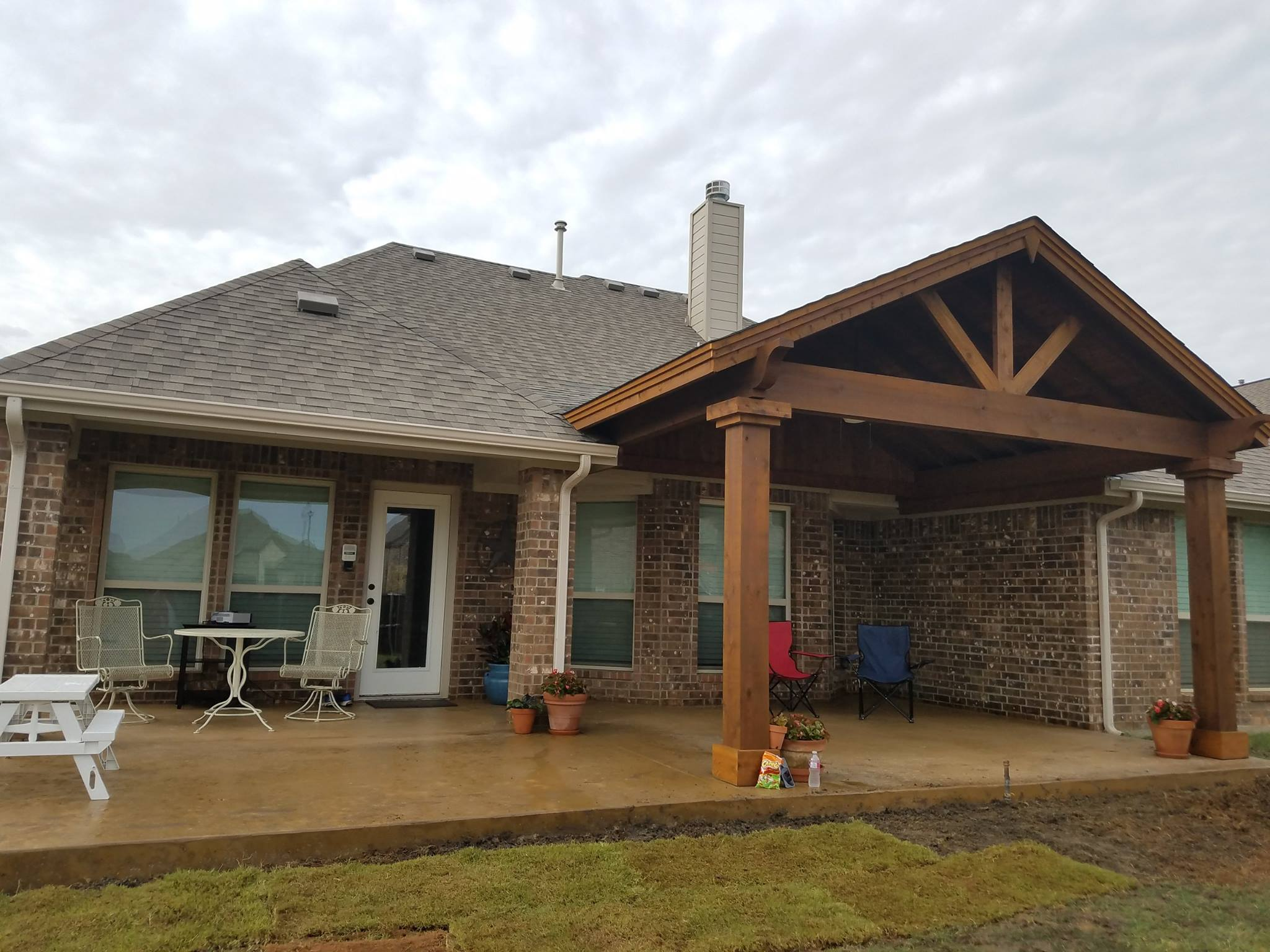 Patio Covers - Texas Outdoor Oasis - Patio Cover Installation on House Backyard Deck id=53003